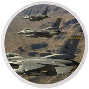 Ighter Jets Return From The Nevada Test Round Beach Towel
