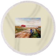 Ile D'orleans Road To The Red Gabled House Quebec Maritime Landscape Round Beach Towel