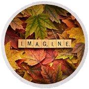 Imagine-autumn Round Beach Towel