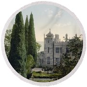 Imperial Castle In Alupku -ie Alupka -  Crimea - Russia - Ukraine Round Beach Towel