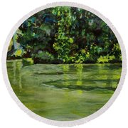 Impressions Of Ooty Lake 1 Round Beach Towel
