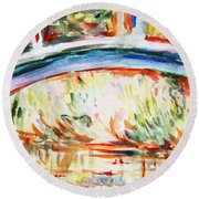 Impressions On Monet Painting Of Pond With Waterlilies  Round Beach Towel