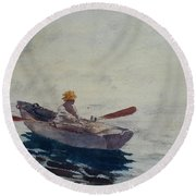 In A Boat Round Beach Towel by Winslow Homer