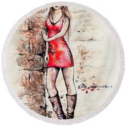 In A Moment Round Beach Towel