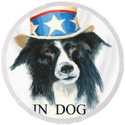 In Dog We Trust Greeting Card Round Beach Towel