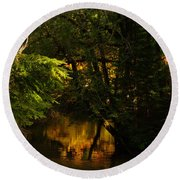 In Golden Moments Of Reflection Round Beach Towel