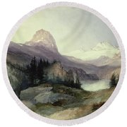 In The Bighorn Mountains Round Beach Towel by Thomas Moran