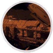 In The Darkness Of Space, An Astronaut Round Beach Towel by Stocktrek Images