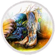 In The Garden Round Beach Towel by Adam Vance