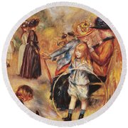 In The Luxembourg Gardens Round Beach Towel by Pierre Auguste Renoir