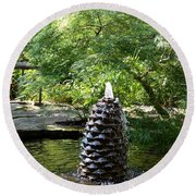 In The Midst Of The Golden Pond Round Beach Towel