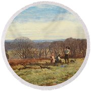 In The New Forest Round Beach Towel by Heywood Hardy
