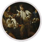 In The Studio Round Beach Towel by Michael Sweerts