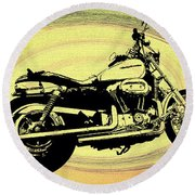In The Vortex - Harley Davidson Round Beach Towel
