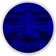 In Your Face In Blue Round Beach Towel