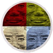 In Your Face In Colors Round Beach Towel