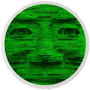 In Your Face In Green Round Beach Towel