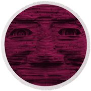 In Your Face In Hot Pink Round Beach Towel