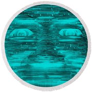In Your Face In Neagtive Turquois Round Beach Towel