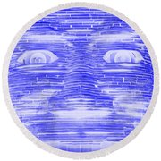 In Your Face In Negative Blue Round Beach Towel