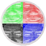 In Your Face In Negative Colors Round Beach Towel
