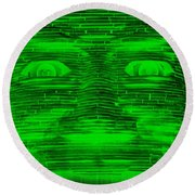 In Your Face In Negative Green Round Beach Towel