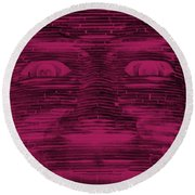 In Your Face In Negative  Hot Pink Round Beach Towel