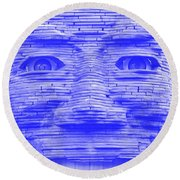In Your Face In Negative Light Blue Round Beach Towel