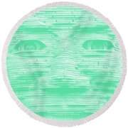 In Your Face In Negative Light Green Round Beach Towel