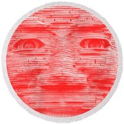 In Your Face In Negative Light Red Round Beach Towel