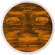 In Your Face In Negative Orange Round Beach Towel