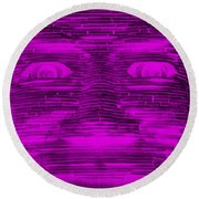 In Your Face In Negative Purple Round Beach Towel