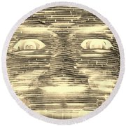 In Your Face In Negative Sepia Round Beach Towel