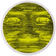 In Your Face In Negative Yellow Round Beach Towel