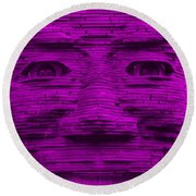 In Your Face In Purple Round Beach Towel