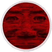 In Your Face In Red Round Beach Towel