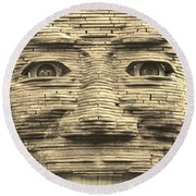 In Your Face In Sepia Round Beach Towel