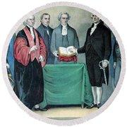 Inauguration Of George Washington, 1789 Round Beach Towel