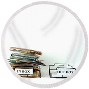 Inbox And Outbox Round Beach Towel