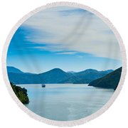 Incoming Ferry Through A Fjord  Round Beach Towel