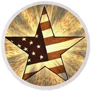 Independence Day Stary American Flag Round Beach Towel