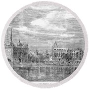 India: Golden Temple, 1858 Round Beach Towel