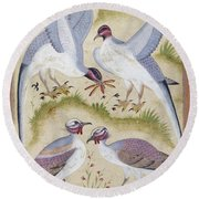 India: Pheasants Round Beach Towel