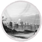 India: Taj Mahal, C1860 Round Beach Towel