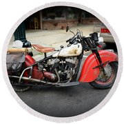 Indian Chief Motorcycle Rare Round Beach Towel
