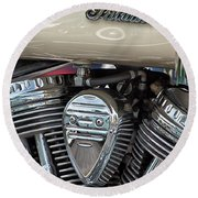 Indian Motorcycle Engine Round Beach Towel