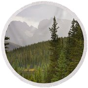 Indian Peaks Colorado Rocky Mountain Rainy View Round Beach Towel
