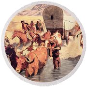 Indians Attacking A Pioneer Wagon Train Round Beach Towel