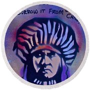 Indigenous Motto...blue Round Beach Towel