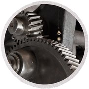 Industrial Gears Whith Oil Drops Round Beach Towel